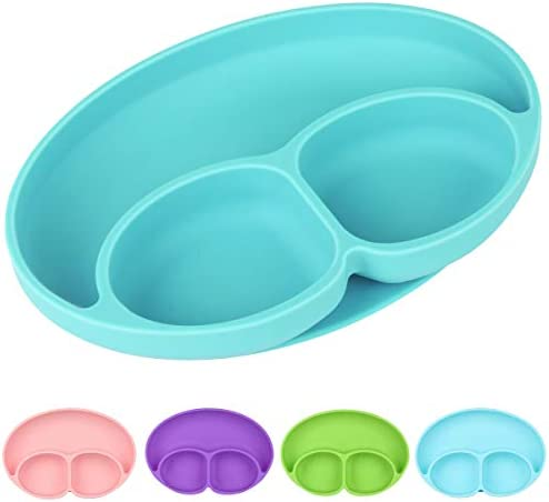 ChenYuTe Toddler Plates 100 Safe Silicone Suction Plate for Kids BPA Free Dishwasher Microwave product image