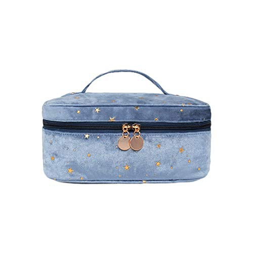 Makeup Bag Portable Travel Cosmetic Bag,Yeacun makeup Organizer Multifunction Case with Gold Zipper Velvet Embroidered Applique Stars Bags for Women?blue?