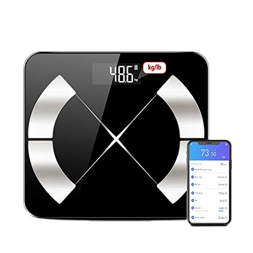 QWEASDF Bluetooth Bathroom Scale, Digital Body Fat Weight Scale, Smart Wireless BMI Weighing Scale, Tracks Body Composition Analyzer Scale with Smartphone App,24 items of body data