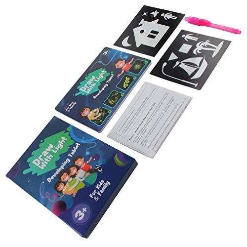 Dibujo mágico Tablero de Efectos de luz Tablero de Dibujo Tableta Dibujo Creativo Niños Pluma Regalo Juguete de Dibujo artístico Ligero (Multicolor A5 Tipo 1150 * 20 * 21)