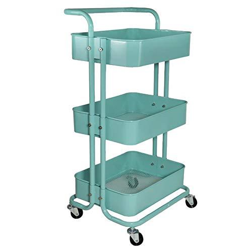 YCSD Carro Utilitario con Ruedas De 3 Niveles, Carro De Almacenamiento De Carro De Cocina con 2 Ruedas Bloqueables para Cocina, Baño, Lavadero(Color:Azul)