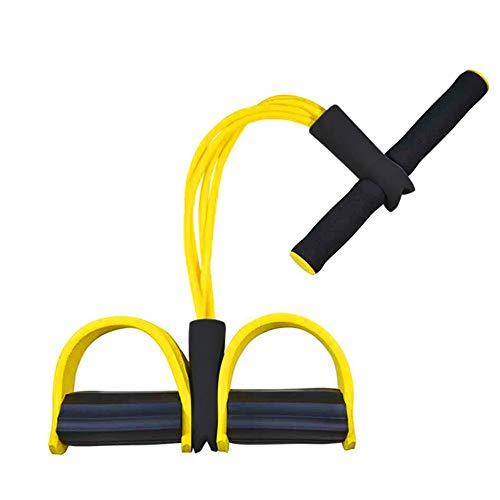 Corda elastica multifunzionale per allenamento con 4 corde, fascia per gambe con pedali, per yoga, fitness, addominali, body-building, fascia elastica per esercizio, da casa e palestra, Giallo