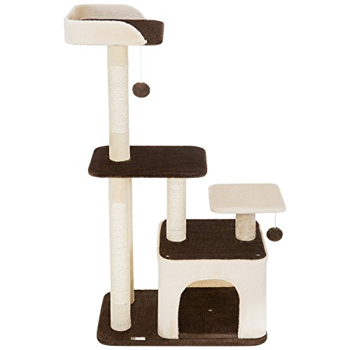 """Ollieroo 40"""" H Multi-Level Kitten Cat Tree Furniture Climber 5 Tiers Cat Tower Cat Scratching Pads Scratching Posts Use The Steps as a Ladder to Climb Rope Ladder Kitten Tree (Beige)"""