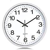 Lafocuse Reloj de Pared Silencioso Metal Sencillo Reloj Cuarzo Clasico Blanco para Salon Comedor Dormitorio 30 cm