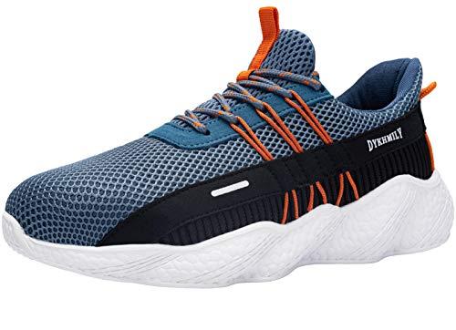 Fenlern Chaussure de Securite Femme Legere Respirant Baskets de Sécurité Embout Acier Chaussures de Travail (Bleu Ciel,38.5 EU)