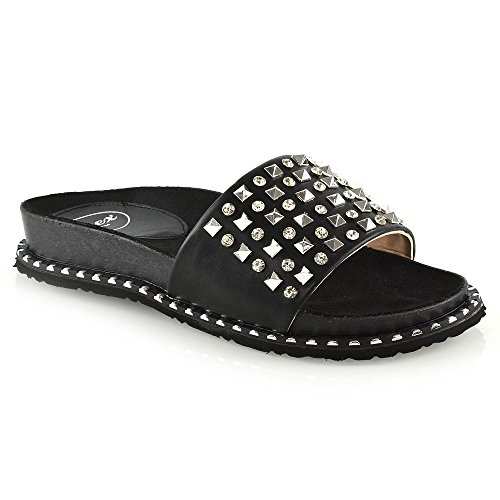 ESSEX GLAM Womens Flat Sliders Ladies Black Synthetic Leather Studded Slip On Mule Summer Holiday Sandals Shoes 8 B(M) US