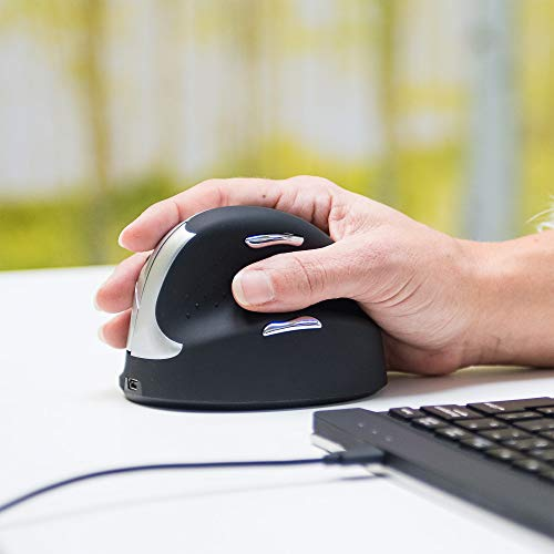 R-Go HE mouse- Souris ergonomique - Modèle Vertical- Sans fil - Pour Droitier - Prévention Syndrome de la Souris et Epicondylite - Moyen (Longueur de la main 165-185mm) - PC/Tablet/Laptop - Noir