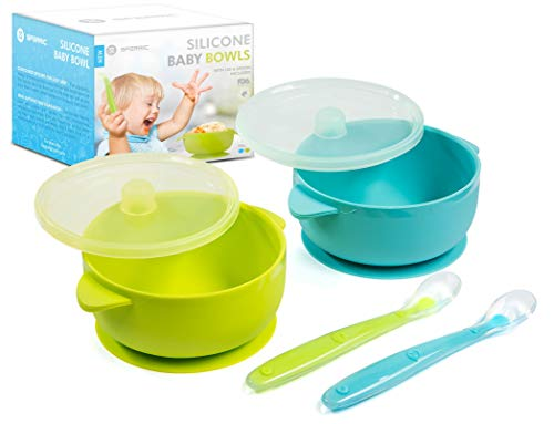 Silicone Baby Bowls Suction Bowls Dishwasher/Microwave Safe Non-Slip for Babies/Toddlers/Kids Includes 2 Bowls 2 Soft Spoons and 2 lids BPA Free (Green & Blue)