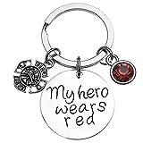 Firefighter Keychain, My Hero Wears Red Jewelry Gift for Firefighter Wife, Girlfriend, Mom, Daughter - Fireman Wife Jewelry