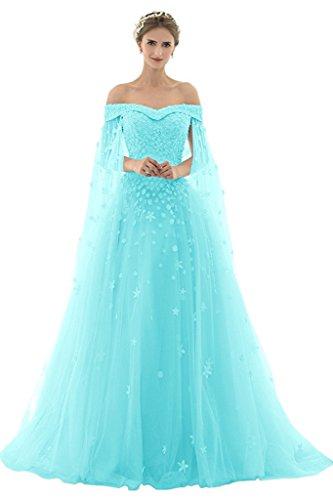 AZNA Damen Prinzessin Spitze Abendkleider Ballkleid Partykleid Hochzeitskleider Lang mit Schleppe Türkis 48