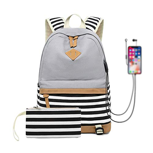 Canvas Backpack School Bags for Teenager Girls College Laptop Student Rucksack with Pencil case, Striped Casual Daypacks with USB Charging Port (Grey-Strips)