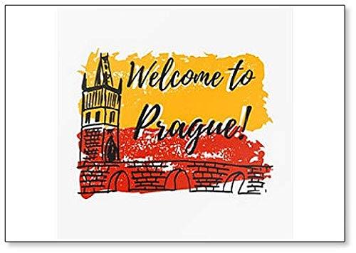 Druck mit Schriftzug über Prag & Farbspritzern in Form von Prager Flagge Kühlschrankmagnet