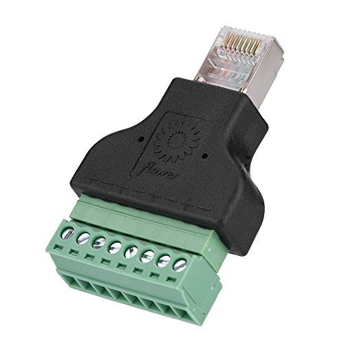 Zerone Adaptateur de convertisseur de connecteur Ethernet DVR de connecteur mâle Jack RJ45 à 8 Broches à vis