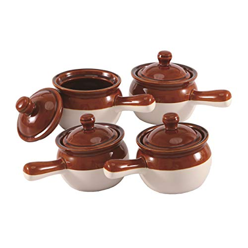 Individual French Onion Soup Crock Chili Bowls with Handles and Lids, Ceramic 16 Ounces 4 Pack