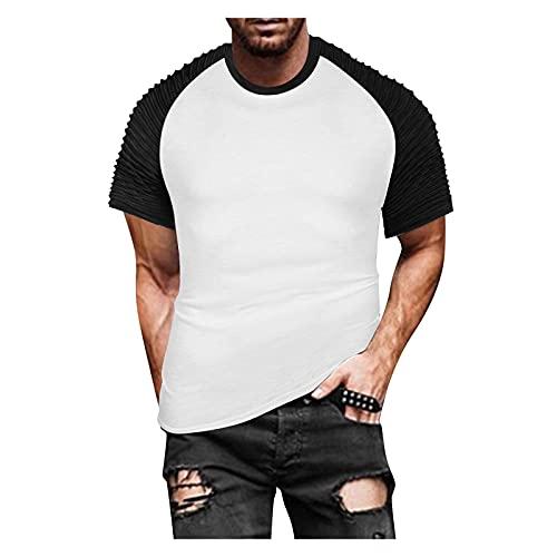 Tshirt Herren Kurzarm Rundhals Slim Fit Farbblock T Shirts Männer Sportshirt Sweatshirt Hemd T Shirt Kurzarmshirt Top