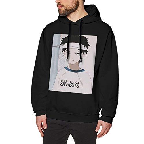 XCNGG Herren Kapuzenpullover ohne Taschen Modepullover Kapuzenpullover Sacchan is Rapid Crewneck Long Sleeve Sweatshirt Pullover Hoodies for Men Black