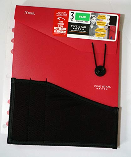 Mead Five Star 3 Tab File Folder for Notebook & Binder Red