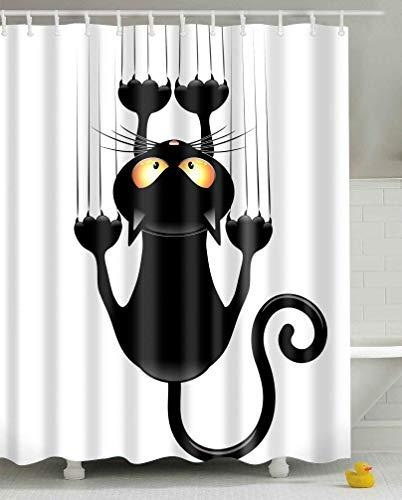 Leashy Cortina de Ducha Impermeable con impresión Divertida de Gatos, a Prueba de Moho, con Ganchos (Gato Negro, 180x180)