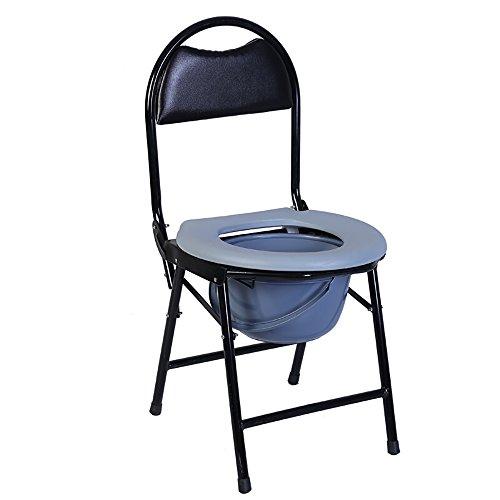 Zzz- Bedside Toilette/Portable Badesitz Klappbett Kommode Sitz Mit Kommode Eimer Anwendbar für ältere Menschen, Schwangere, Behinderte (Farbe : Gray)