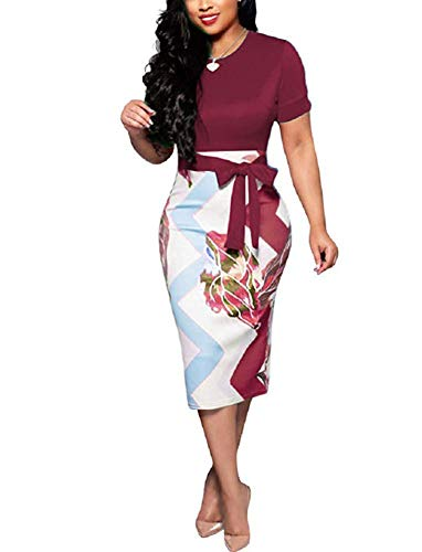 Women' Short Sleeve Bodycon Dress -Cute Bowknot Floral Pencil Dress X-Large Wine Red