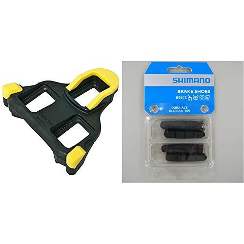 SHIMANO SM-SH11, Tacchette Pedali Strada, Nero/Giallo & Dura Ace Ultegra 105 Pattini, Nero 4 Pezzi