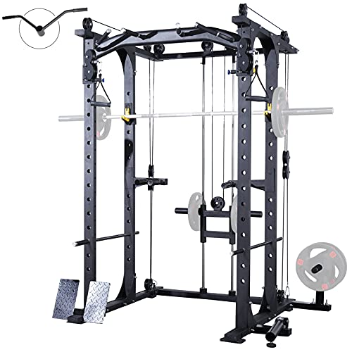 ER KANG Multi-Function Power Cage, 1400 lbs Commercial Weight Cage with Cable Crossover Machine, J-Hooks, Landmine, T-Bar, Dip Bars, Barbell Holder, and Other Attachments(2021 New Version-Black)