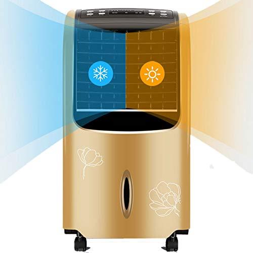 SWSPORT Climatizador Evaporativo De Torre, Enfriador Aire Portatil, Móvil Climatizador Evaporativo Ventilador, 3 Velocidades, 10L Depósito, Nuevo 2021,Oro,Warm Cold