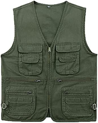 XINDSJDS Nippon regular agency Spasm price Cotton Fabric Vest with Many Men Spring Pockets for Sum