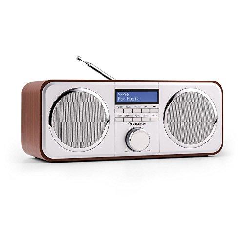 auna Georgia Digitalradio DAB+ / UKW Radiotuner Radiowecker (Radio, 20 Senderspeicher, LCD-Display, Dimmfunktion, Datum- und Uhrzeit-Anzeige, RDS, Snooze und Sleep-Timer, AUX) Kirsche