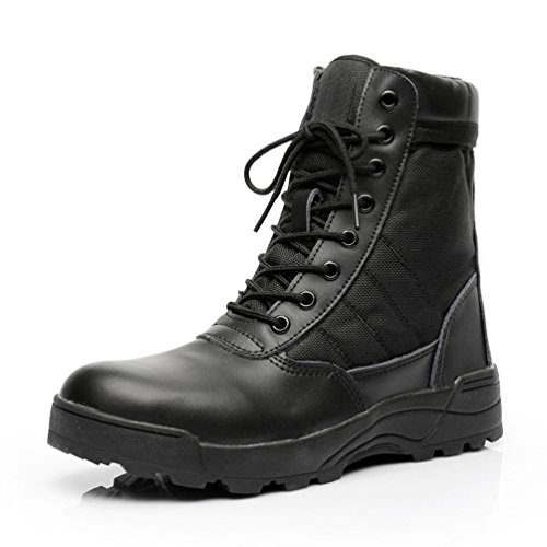 SUNSIN Military Boots Jungle 511 Tactical Shoes for Men Women Combat Duty Work with Side Zipper (US 10.5, Black)