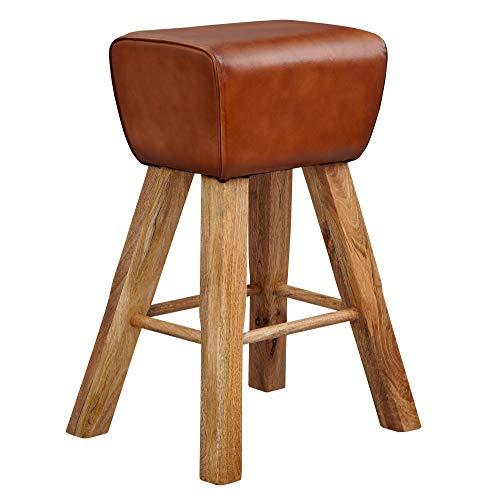 Wohnling barkruk turnbok 43x75x43 cm mango massief hout/echt leer | Design barstoel bruin | lederen kruk zonder rugleuning | Country kruk bureaustoel