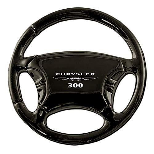 Au-Tomotive Gold, INC. Chrysler 300 Black Chrome Steering Wheel Keychain