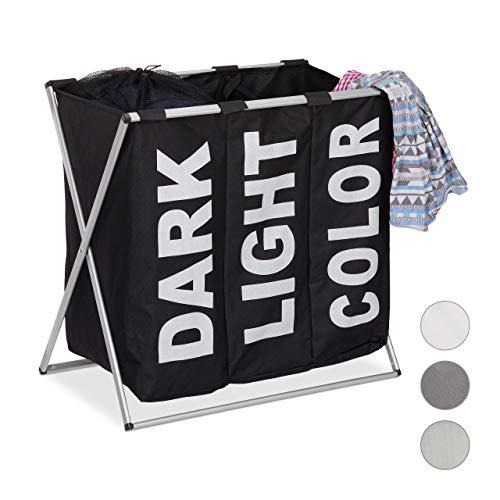 Relaxdays, zwart 3-delige wasgoed-sorteerder, klapframe, afzonderlijke waszak, 3 vakken, 90 liter, XXL wasmand, hoekig, standaard
