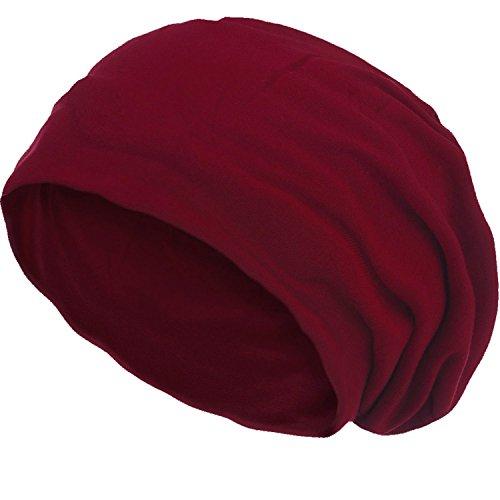 style3 Slouch Beanie aus atmungsaktivem, feinem und leichten Jersey Unisex Mütze Haube Bini Einheitsgröße, Farbe:Dunkelrot