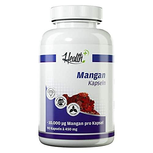 Health+ Mangan - 90 Kapseln mit 10 mg Mangangluconat pro Kapsel, wertvolles Spurenelement, Made in Germany