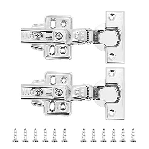 TAECOOOL Bisagras de puerta de armario de acero inoxidable 304 grueso 2.0 para puerta de armario de cocina, bisagra de cierre lento, placa de clip para puertas de armarios (2 unidades)