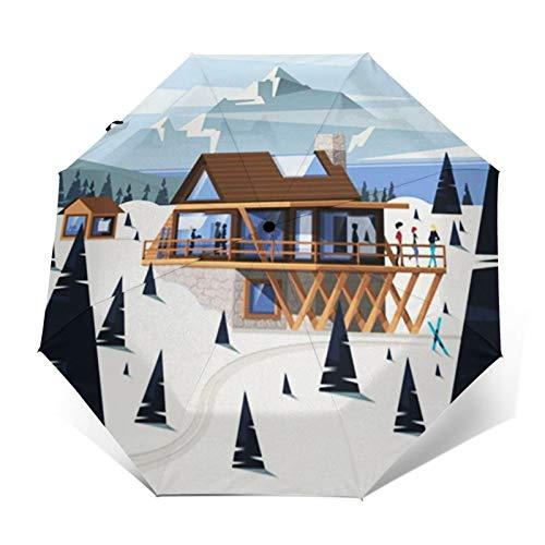 Parapluie Pliant, Parapluie Pliable Automatique Ouverture et Fermeture Résistant à Tempête Compact Léger Parapluie De Voyage pour Homme et Femme Chalet Chalet en Bois de Montagne