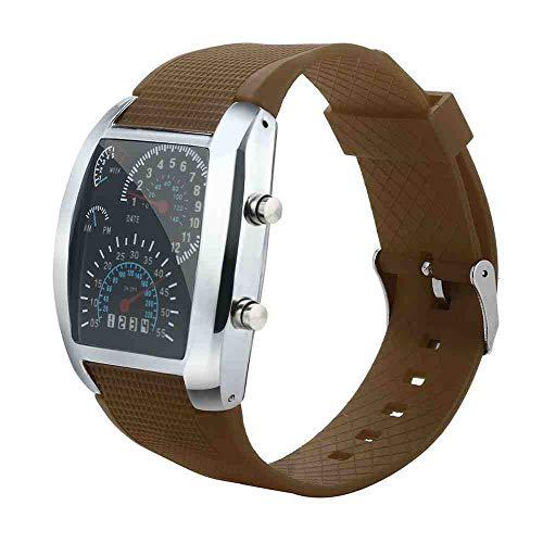 DSNGZ Reloj de Pulsera Mens Fashion Led Light Flash Turbo Velocímetro Reloj Deportivo Meter Dial Reloj Erkek KOL i, D