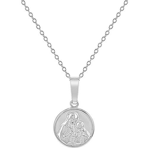 Colgante de medalla de Jesucristo y Virgen de plata de ley 925, para niñas, collar de 40,6 cm