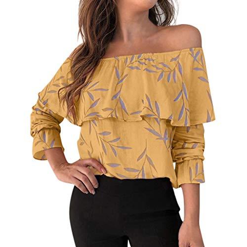 routinfly Ausverkauf 2035 Neue Damen Casual Top Bluse lose T-Shirt,Langärmliges T-Shirt mit Rundhalsausschnitt für Frauen trägerlose beiläufige Oberseiten-Blusen Einfaches Stilmuster S-XXL