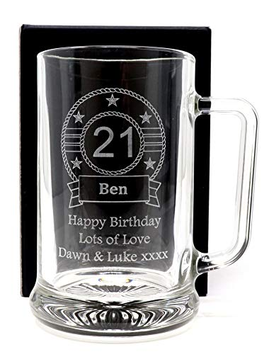 Engraved/Personalised *Birthday Design* Pint Glass Tankard Gift Boxed