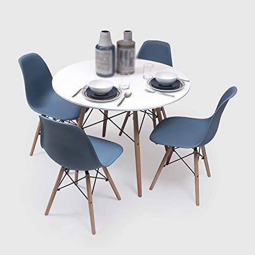 Diseño nórdico moderno Un conjunto de 4 sillas de comida 1 mesas de comedor redondas son fáciles de ensamblar adecuadas para restaurantes, salas de estar, cocinas,Blue