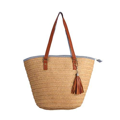 Boji Bolso cruzado para teléfono móvil, para verano, playa, bolso de paja con borlas