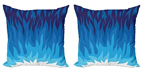 ABAKUHAUS Trippy Set de 2 Fundas para Cojín, Resumen de Gas y Fuego, con Estampado en Ambos Lados con Cremallera, 45 cm x 45 cm, Azul Violeta