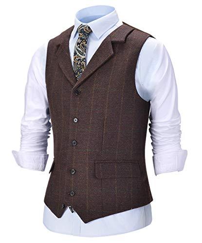 Solove-Suit Herren Vintage Tweedwolle Anzug Weste Schottisches Plaid Notch Revers Slim Fit Weste für Hochzeit Groomsmen(Kaffee,L