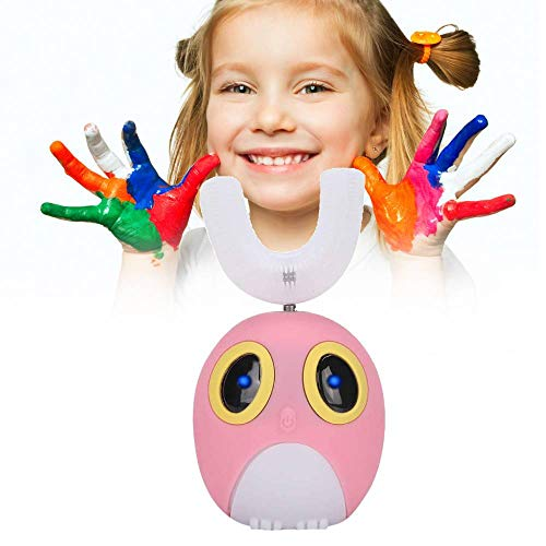 Electric Children Toothbrush,U-Shaped Kids Automatic Toothbrush,Cute Cartoon Specially Designed for ToddlersEdible with Grade Soft Bristles ( 7-12 Years Old-Pink)