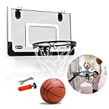 BORUO Hanging Door Mini Basketball Hoop,Wall Mounted Foldable for Backboard,Adjustable Basketball Stand Rim Net,Punch-Free Installation,Black