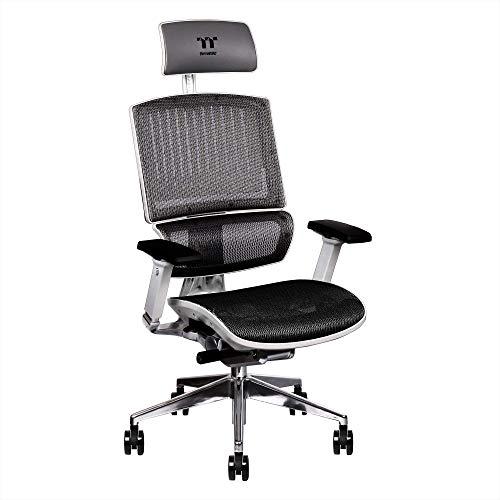 Thermaltake cyberchair e500 mesh cushion aluminum framework headrest/seat depth/seat height/4-directional armrest adjustable ergonomic gaming chair ggc-eg5-bwlfdm-01, white