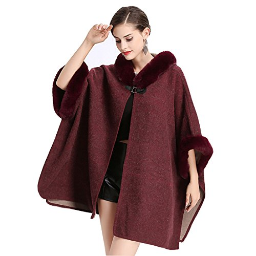 Cool&D Damen Poncho Cape Winter Umhang Tweed Jacken mit Kunstfell Kragen Kunstpelz Stolen