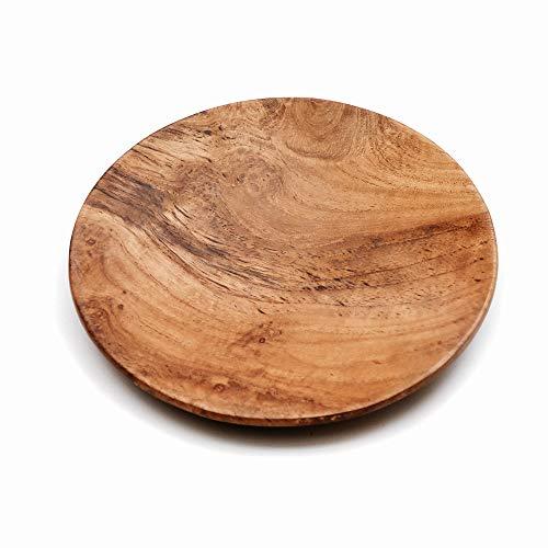 Runde Platte aus Teakholz, Größe M, Natürlich